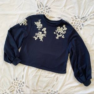 Tops - Navy blue embroidered sweatshirt